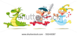 stock-vector-dragon-prince-and-princess-cartoon-and-vector-scene-55249387